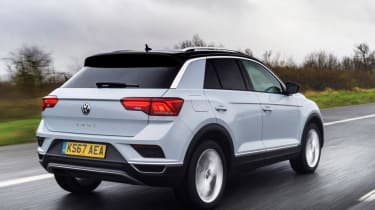 Volkswagen T-Roc SUV rear 3/4 tracking white