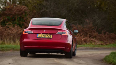 Tesla Model 3 saloon rear cornering