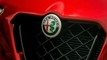 Alfa Romeo Stelvio Quadrifoglio SUV - front badging close