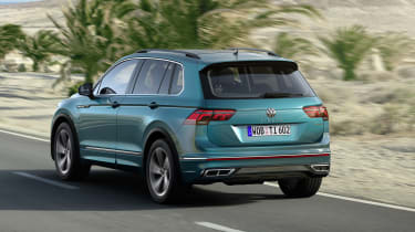 Facelifted Volkswagen Tiguan R-Line driving - rear view