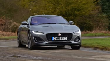 Jaguar F-Type coupe front driving