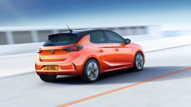 2020 Vauxhall Corsa-e - dynamic rear 3/4 RH view