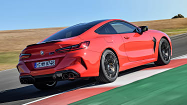 BMW M8 Competition coupe rear 3/4 on track