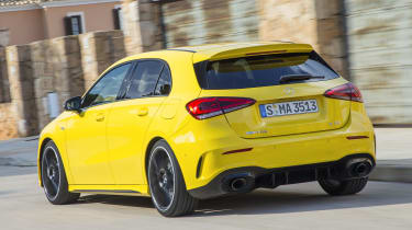 The A 35 gets a new turbocharged two-litre petrol engine that produces 302bhp