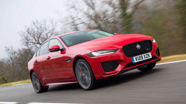 Jaguar XE saloon front 3/4 tracking