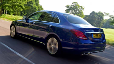 This is because it qualifies the Mercedes C350e for the cheapest company-car tax BiK band of 9%