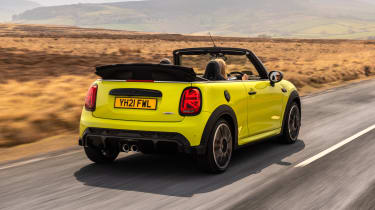2021 MINI Convertible driving - rear view, roof down