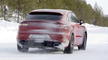 Porsche Cayenne Coupe GTS driving - rear view