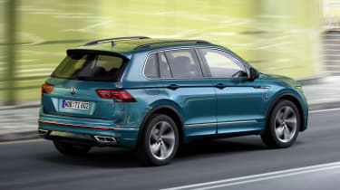 Facelifted Volkswagen Tiguan driving - rear view