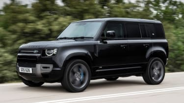 Land Rover Defender V8 SUV front 3/4 tracking