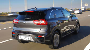 Kia e-Niro driving - rear view