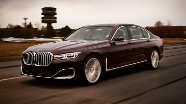 BMW 745e hybrid saloon front tracking