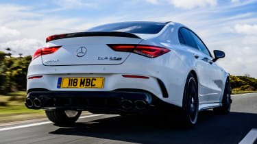 Mercedes-AMG CLA 45 saloon rear tracking