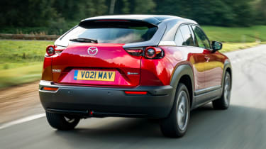 Mazda MX-30 SUV rear 3/4 tracking