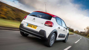 Tough black bumpers give the C3 the appearance of a mini-SUV