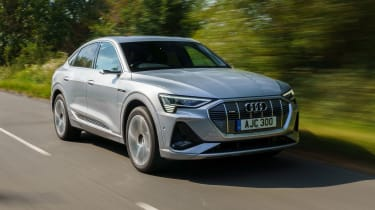Audi e-tron Sportback SUV front 3/4 tracking