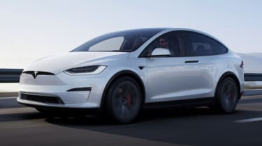 2021 Tesla Model X Plaid - front 3/4 view