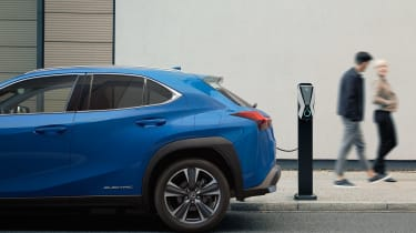 Lexus UX 300e charging - rear end view