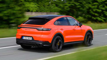 Porsche Cayenne Coupe SUV rear 3/4 driving