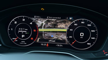 Audi Virtual Cockpit - large dials and map view