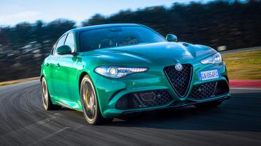 Alfa Romeo Giulia Quadrifoglio cornering on racetrack