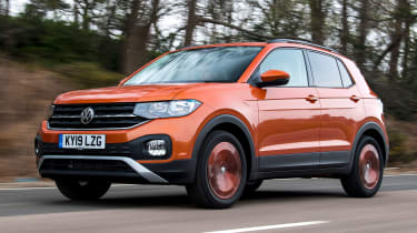 Volkswagen T-Cross SUV front 3/4 tracking