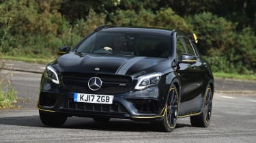 The Mercedes GLA 45 AMG is a hot version of the crossover, with a powerful engine and four-wheel drive
