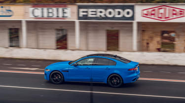 Jaguar XE Reims Edition driving - side view