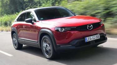 Mazda MX-30 SUV front 3/4 tracking