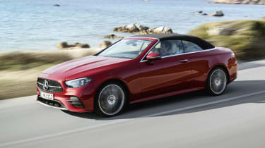 Mercedes E-Class Convertible driving with the roof up