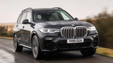 BMW X7 SUV front 3/4 tracking
