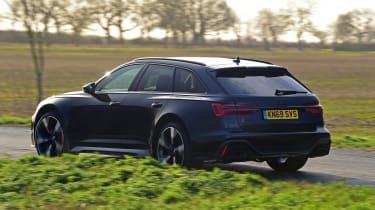 Audi RS6 Avant estate rear 3/4 action