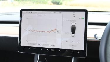Tesla Model 3 - interior touchscreen battery usage