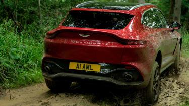 Aston Martin DBX SUV off-road mud rear
