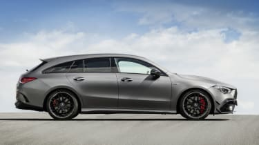 2019 Mercedes-AMG CLA 45 S Shooting Brake - side on static view