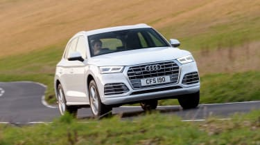 It features Audi's latest family face and slim headlights