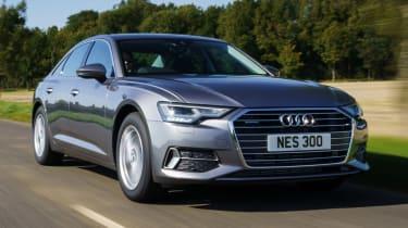 Audi A6 50 TFSI e saloon front 3/4 tracking