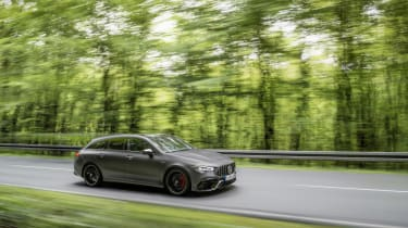 2019 Mercedes-AMG CLA 45 S Shooting Brake - front wide panning view shot
