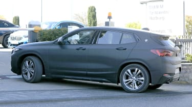 BMW X2 facelift in slight camouflage - side view