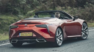 Lexus LC Convertible rear 3/4 driving
