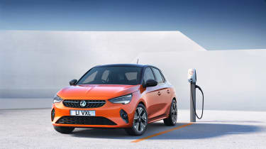 2020 Vauxhall Corsa-e - static 3/4 view at a charging station