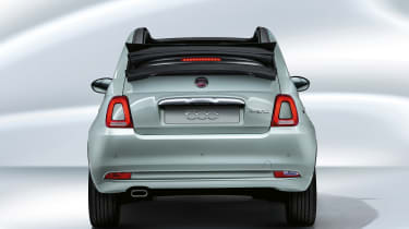 Fiat 500C mild hybrid - rear view with roof down
