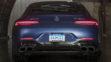 Mercedes-AMG GT 63 rear view, lights on