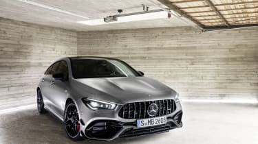 2019 Mercedes-AMG CLA 45 S Shooting Brake - front on static close up view