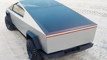Tesla Cybertruck - rear 3/4 view with closed load bed