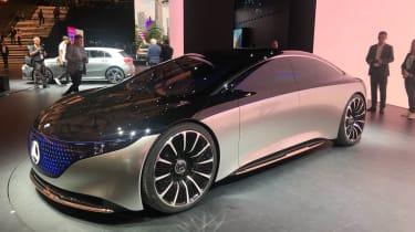 Mercedes EQS electric saloon concept - LH static 3/4 shot - Frankfurt