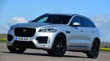 The slender headlights and large grille are becoming a Jaguar design theme