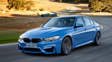 BMW M3 saloon 2014 front quarter tracking