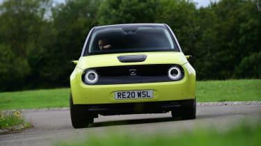 Honda e hatchback front cornering