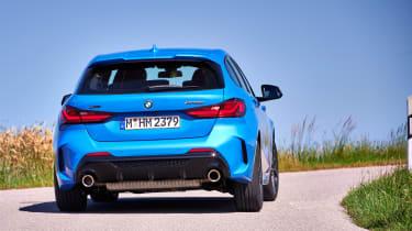 BMW M135i cornering - rear close up